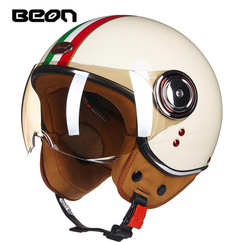 BEON摩托车头盔男女士冬季保暖复古半覆式半盔电动车四季安全帽