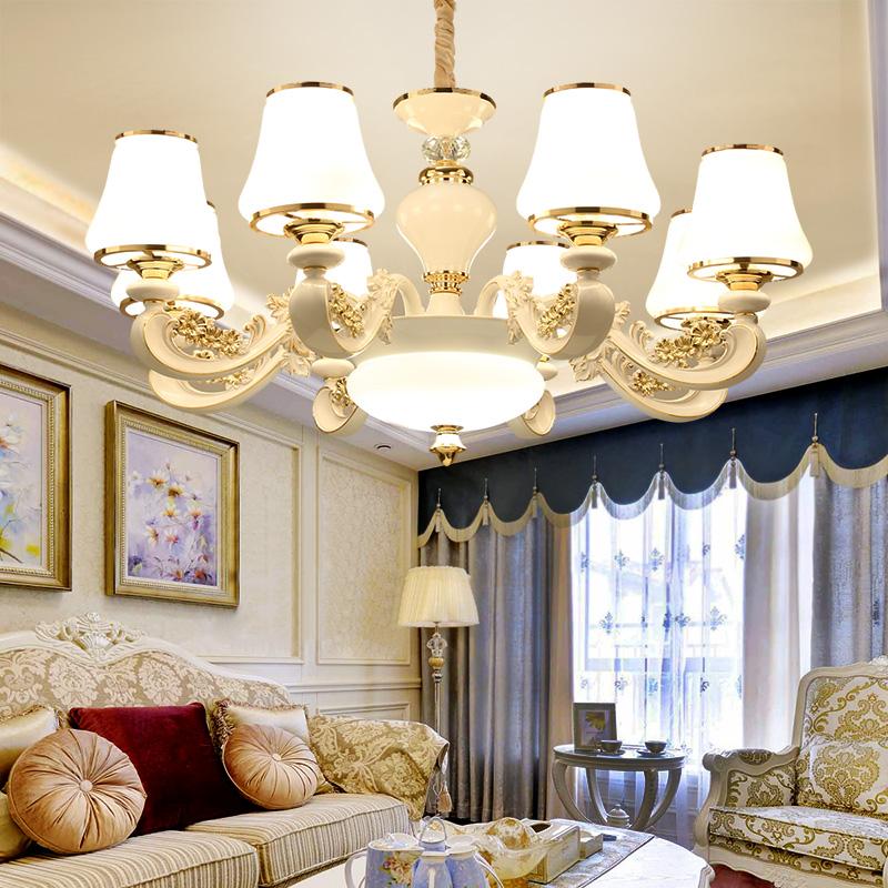 欧式吊灯客厅灯具大气锌合金白色田园卧室灯简欧别墅复式楼餐厅灯