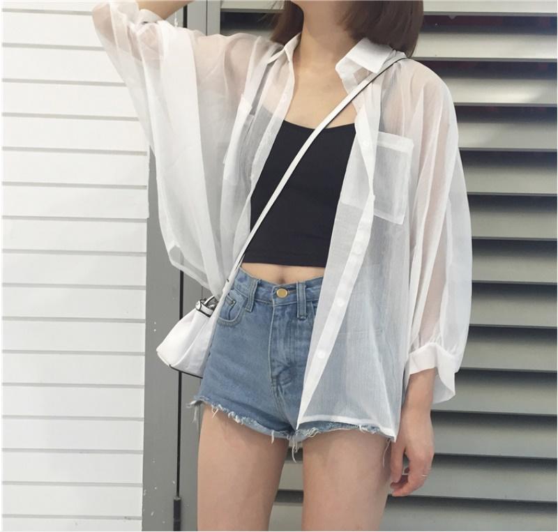 2020夏防晒衣女韩版宽松百搭超薄雪纺超仙开衫长袖短款防晒衫外套