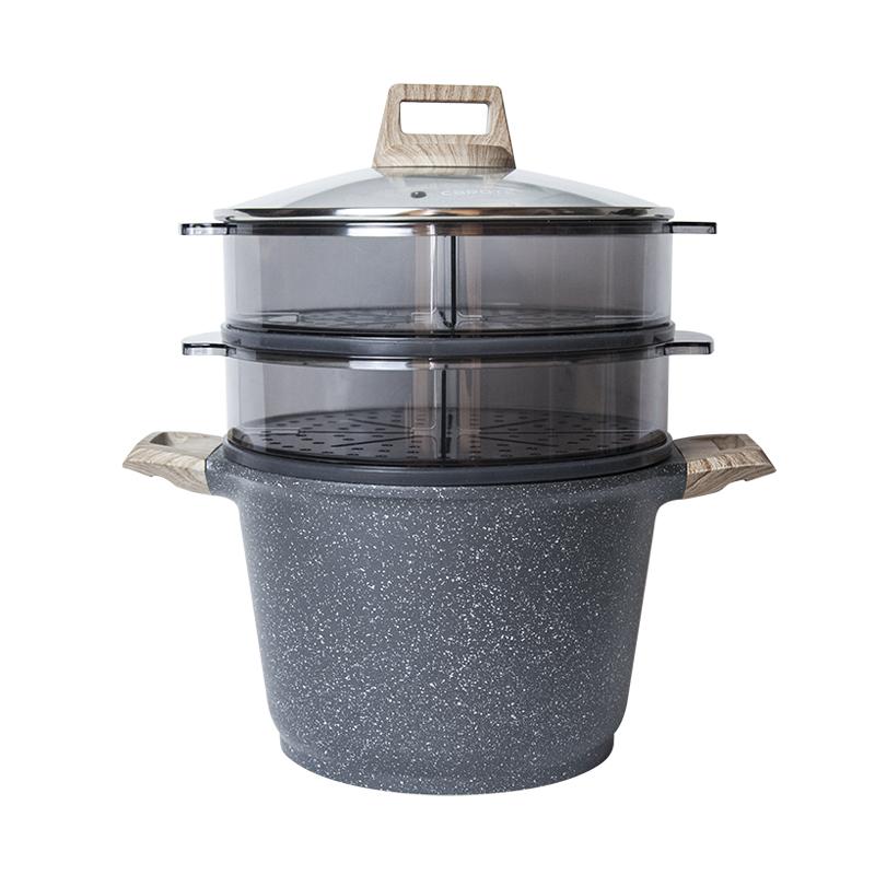 瑞士麦饭石蒸锅双层大闸蟹蒸笼格组合大容量高汤锅电磁炉适用24CM