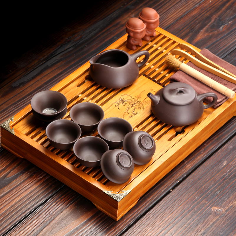 Small tea sets combination solid wood drainage kung fu tea tray celadon teacup household of Chinese style simple office