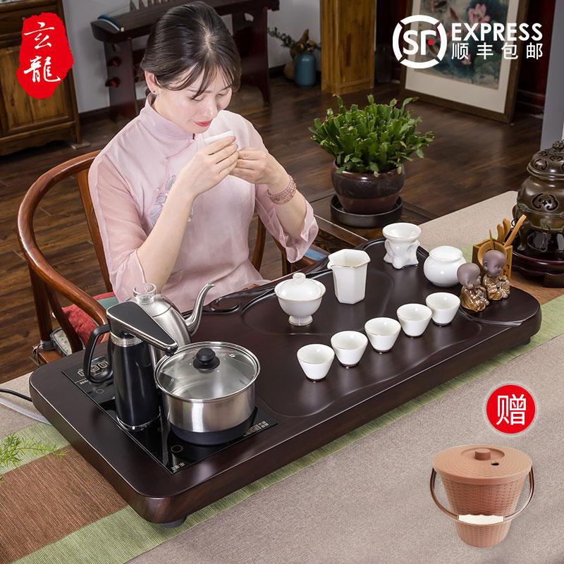 功夫茶具套装家用现代简约全自动黑檀实木羊脂玉陶瓷白瓷紫砂茶盘