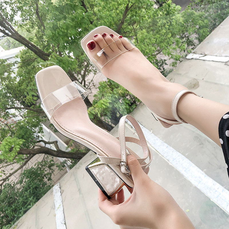 Rome Sandals Fairy Wind 2019 Summer New Fashion Strap With Block Heel Net Red Pump Shoes