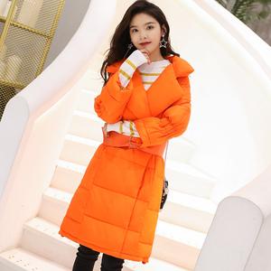韩版潮流2018新款时尚修身中长款白鸭绒羽绒服女轻薄过膝外套