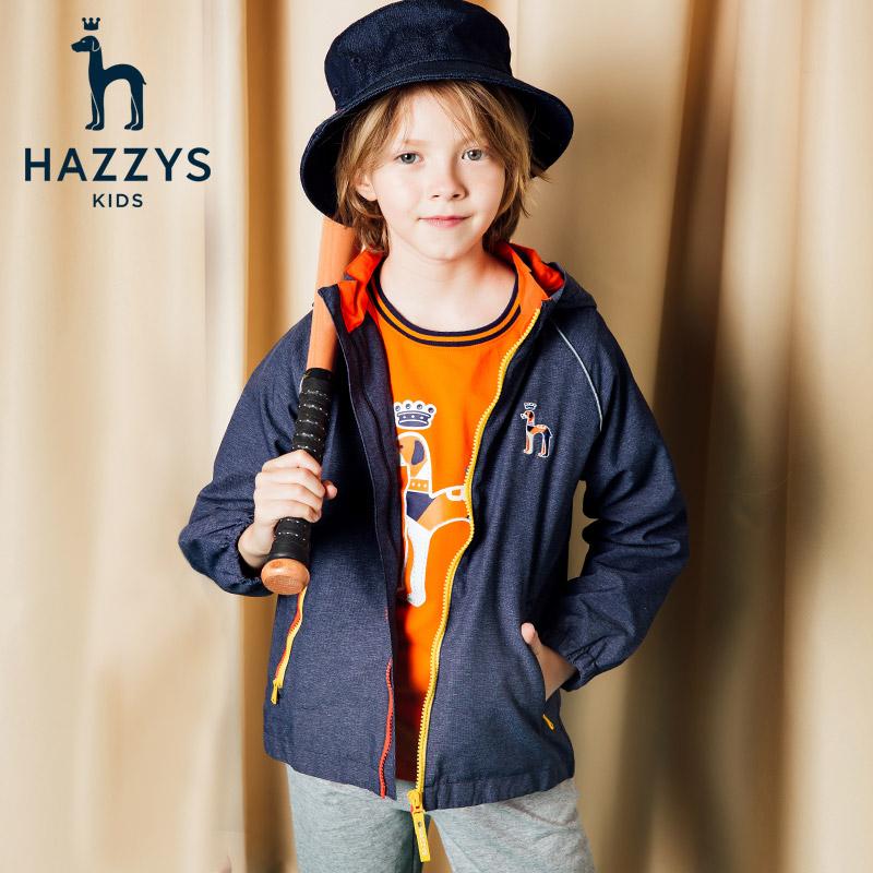 hazzys品牌童装男童风衣 18秋冬新款儿童撞色连帽拉链外套冲锋衣