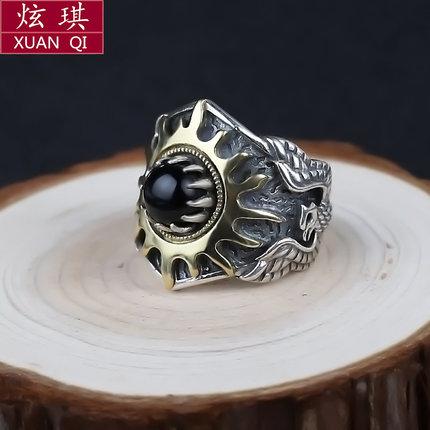 [炫琪珠宝旗舰店戒指,指环]太阳纹戒指男 复古飞鹰纯银个性霸气创月销量0件仅售258元