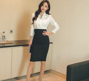 3143#【高档女装】新款女装黑白拼接包臀连衣裙