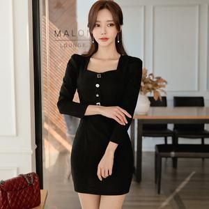 【高档女装】3930#新款女装鹿皮绒包臀显瘦连衣裙