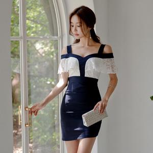 【高档女装】3801#新款女装露肩蕾丝拼接包臀连衣裙