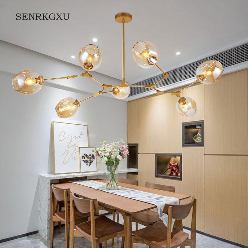 北欧简约创意吊灯分子灯客厅灯个性卧室灯具家用玻璃灯罩餐厅吊灯
