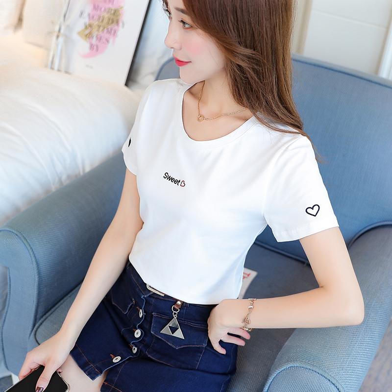 ins字母刺绣T恤衫女短袖纯棉白色2021夏季新款百搭修身网红上衣潮