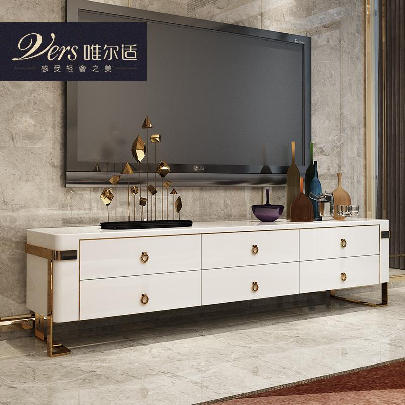 唯尔适 后现代轻奢客厅电视柜小户型 黑白色烤漆不锈钢地柜储物柜