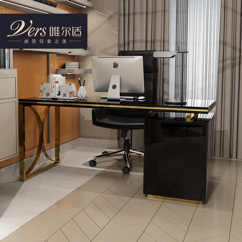 唯尔适 后现代转角办公桌样 板房轻奢书桌 时尚家用写字台电脑桌