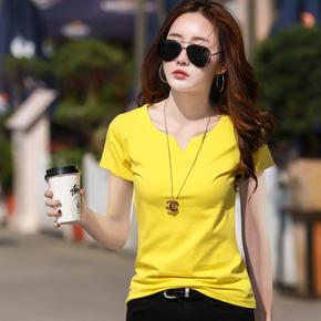 黄色短袖t恤女修身韩版夏装
