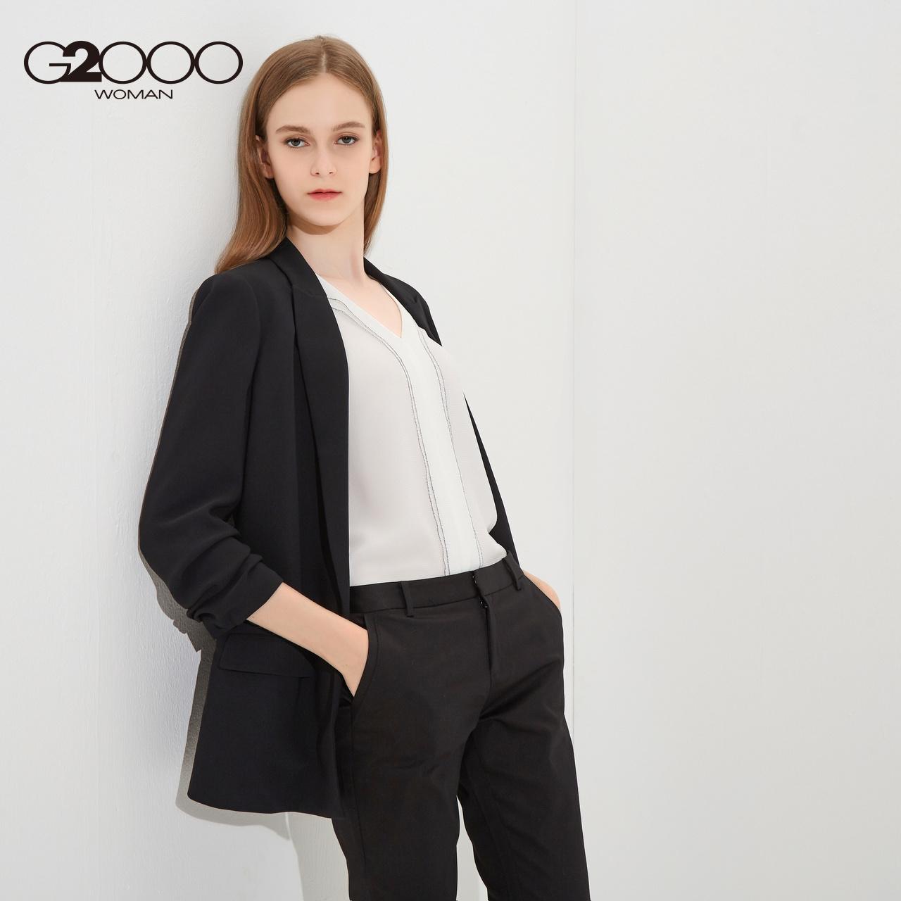 G2000新款商务休闲西服外套 2018春季简约褶皱九分袖通勤女装西装
