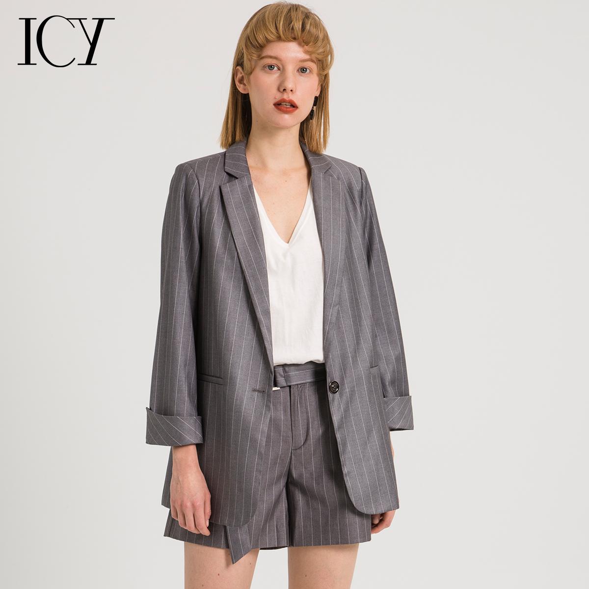 icy咪蒙同款秋装2018新款条纹仿真丝套装女西装欧货西服外套上衣