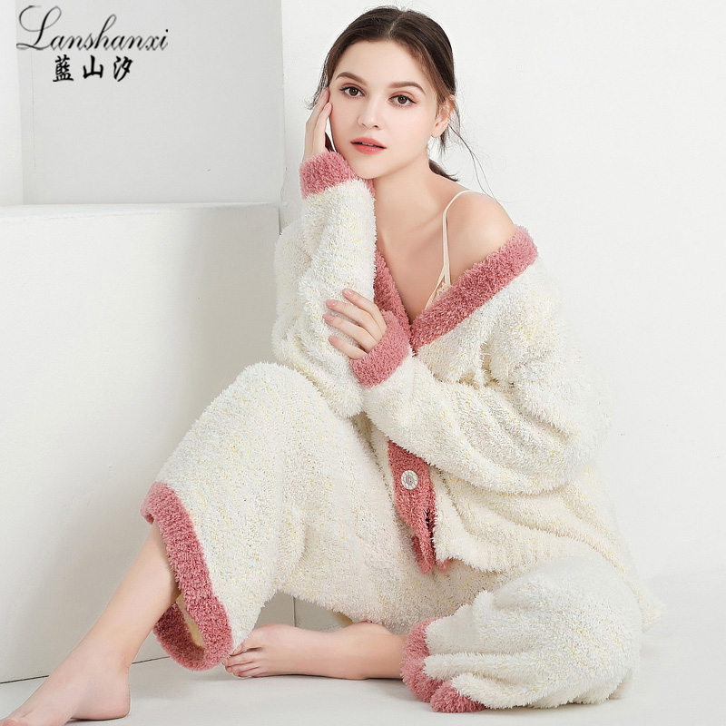 珊瑚绒睡衣女冬季韩版加厚保暖法兰绒秋冬款长袖套装家居服可外穿