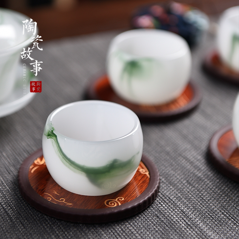 The Story of pottery and porcelain cup mat zen tea tea bamboo spare parts heat insulation cup mat cup kung fu tea cup mat