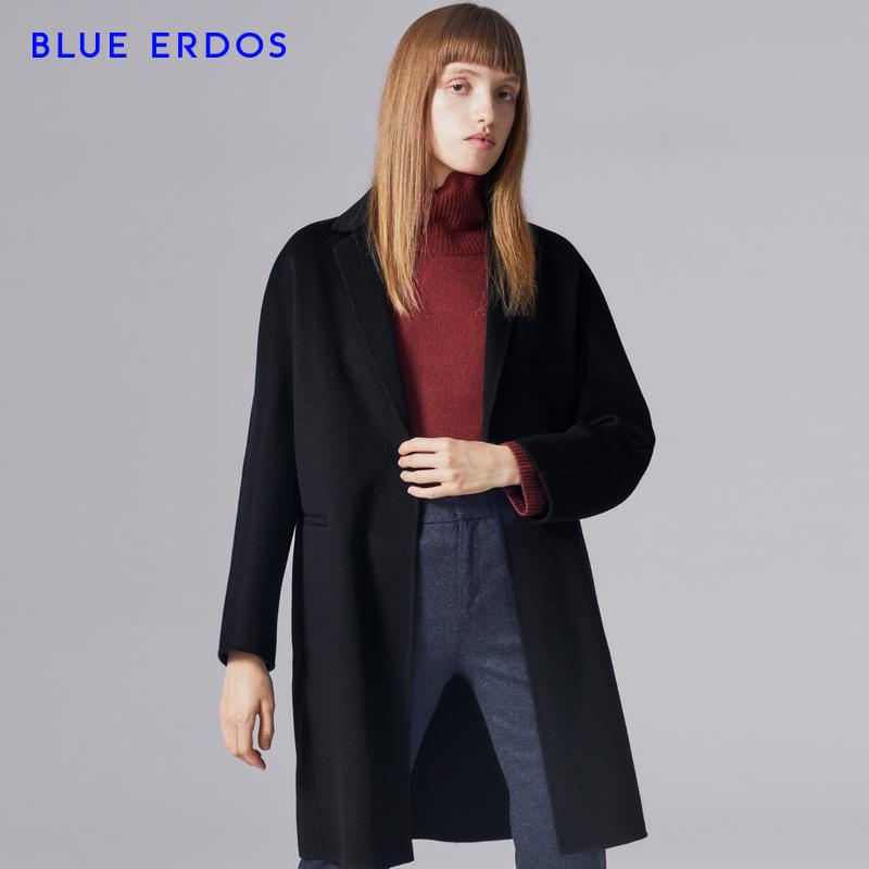 BLUE ERDOS 18早秋新品纯羊毛中长女士毛呢大衣外套B286KB054