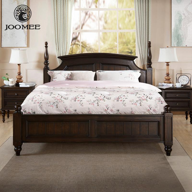 九美美式乡村实木床双人床1.5m1.8米现代简约轻奢婚床主卧室床