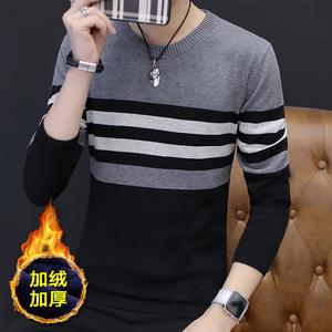 长袖T恤男秋冬季新款圆领加绒男装毛衣打底衫男士针织衫2018秋衣