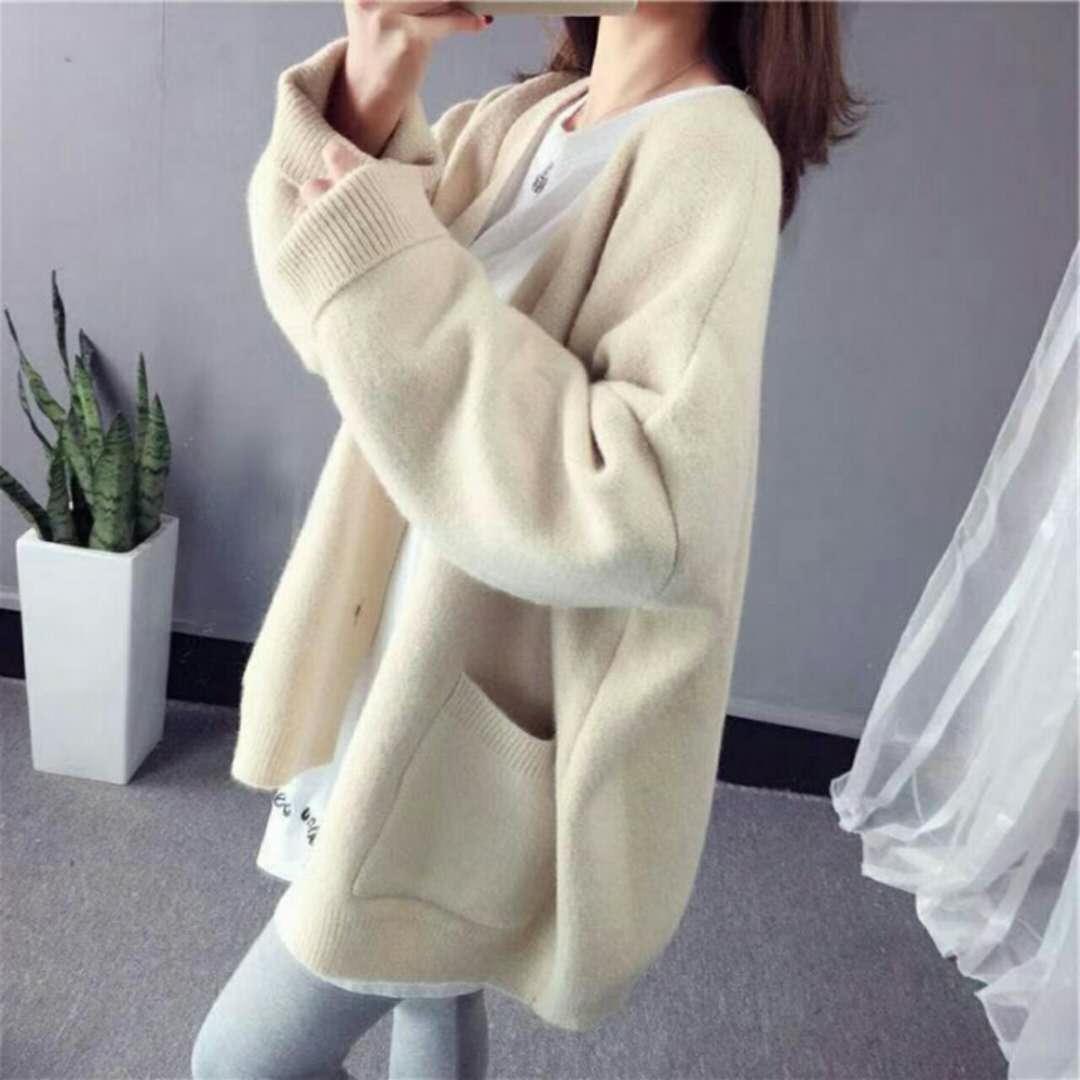 秋季韩版加厚慵懒风毛衣外套