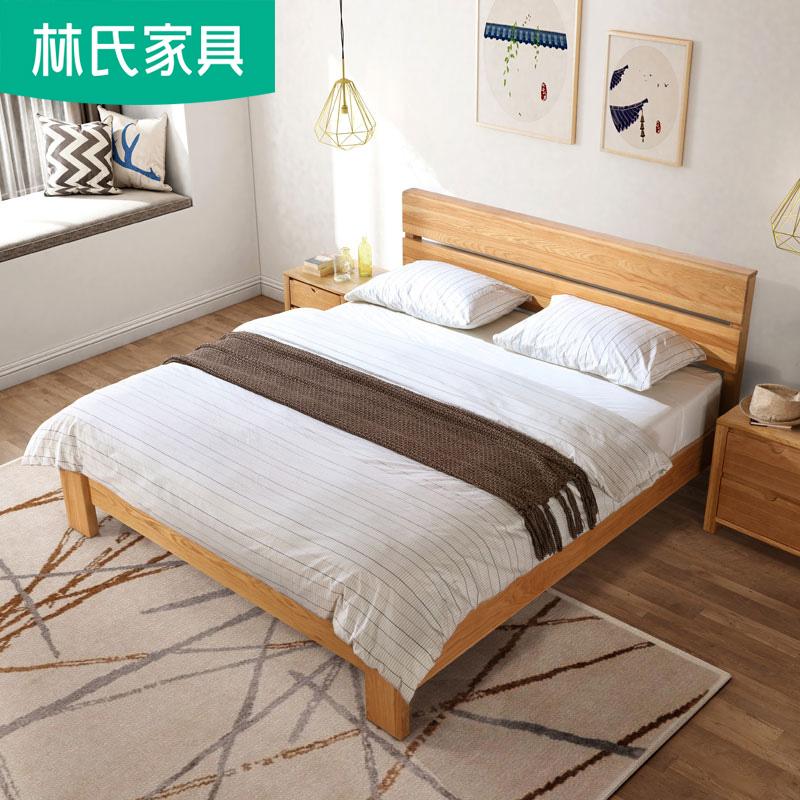 北欧实木床双人床1.8米现代简约主卧大床婚床1.5m日式橡木床CR4A