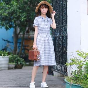 8393实拍新款格子连衣裙