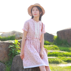 8375实拍女装新款夏季文艺范棉麻连衣裙宽松花边拼接中长裙