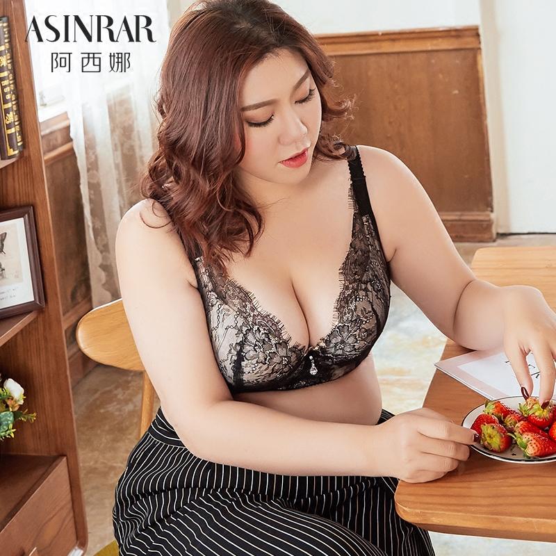 阿西娜 大码内衣女胖mm聚拢200斤性感蕾丝文胸薄款大罩杯收副乳