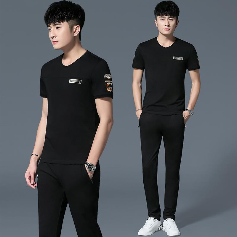 休闲运动套装男2018夏季新款潮流短袖两件套男士青年跑步运动服
