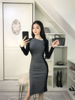 Real Shot New Irregular Collar Color Matching Pleats Long Single Side Slit Long Sleeve Dress