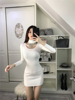 Real Shot Autumn And Winter New Slim Beaded Collar Collar Long Sleeves Slim Pack Hip Knit Dress