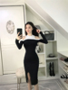 Real Shot Sexy Night Shop With Round Neck Collar Color Small Machine Heart Off Shoulder Split Bottom Dress