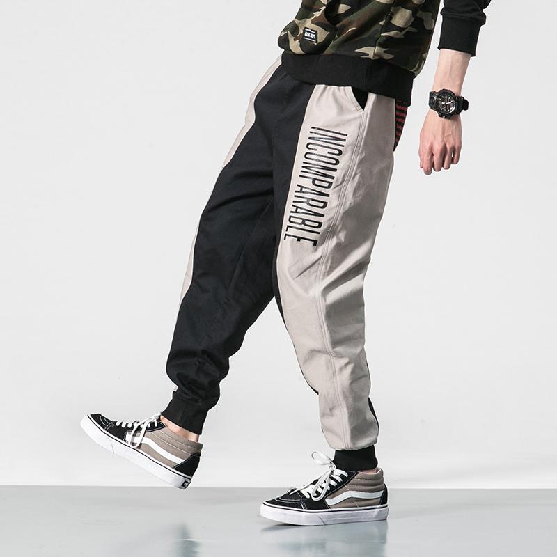 嘻哈ins工装裤男潮牌大码宽松束脚裤韩版潮流余文乐九分哈伦裤子