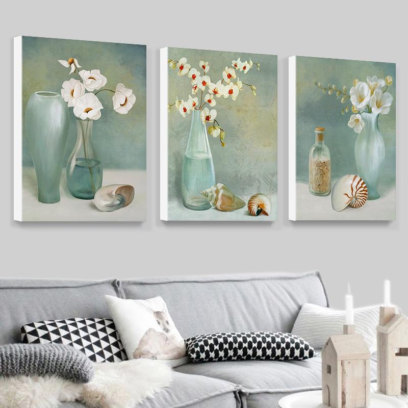 现代装饰画简约壁画客厅无框画沙背景墙挂画欧式挂画餐厅花瓶三联图片