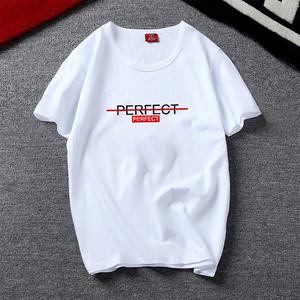 夏季男士韩版休闲短袖T恤青少年个性印花大码打底小衫潮流上衣服