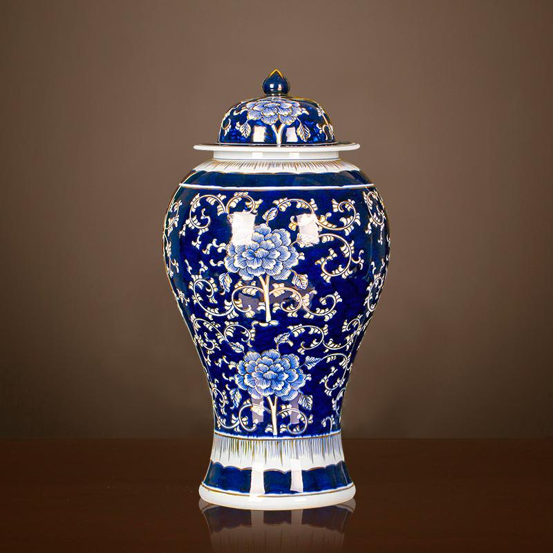 景德镇陶瓷器青花花瓶描金手绘将军罐摆件仿古中式客厅装饰品大号