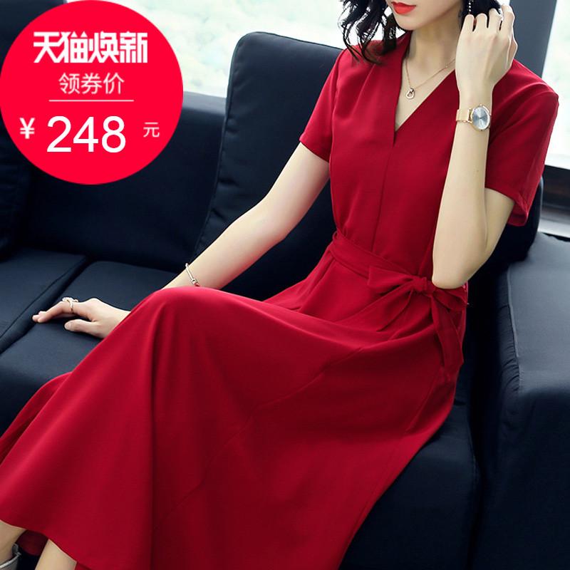 正式场合连衣裙女夏2018新款中长款遮肚子洋气红色裙子女人味气质