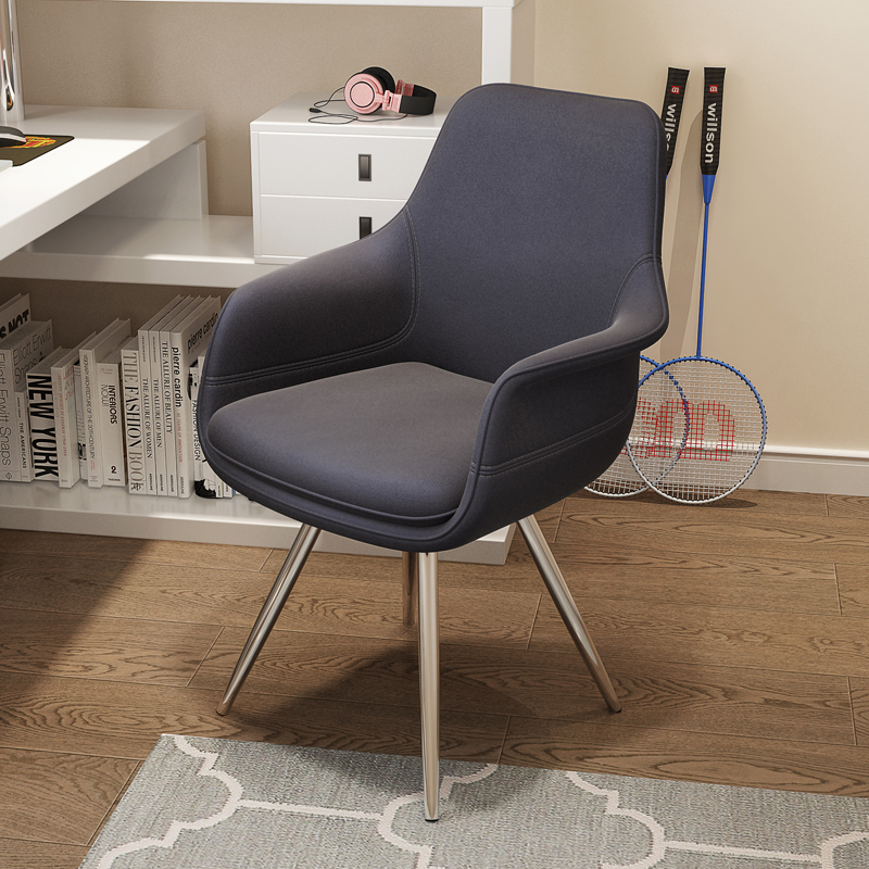 登竣 现代简约旋转功能电脑椅家用 绒布艺凳子书桌椅电竞椅子麻将