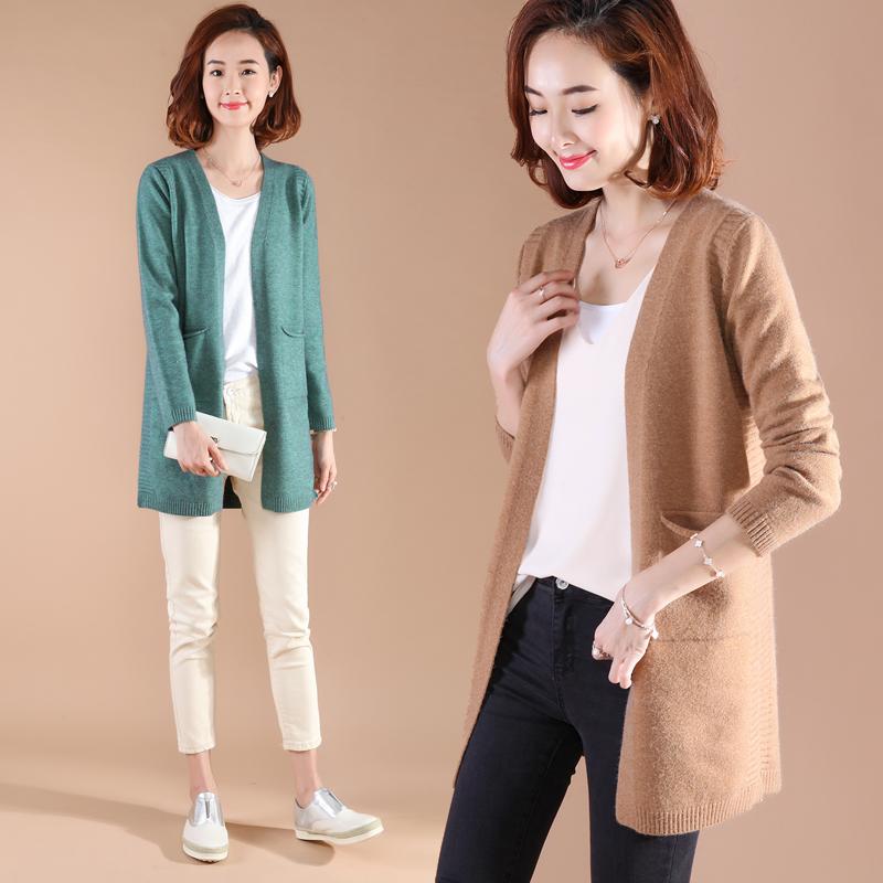 中长款针织衫开衫女毛衣秋季新款韩版宽松纯色时尚外搭披肩女外套
