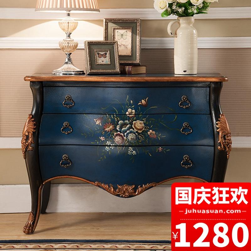 欧式实木玄关柜美式3斗柜地中海彩绘玄关台装饰柜储物柜家具包邮