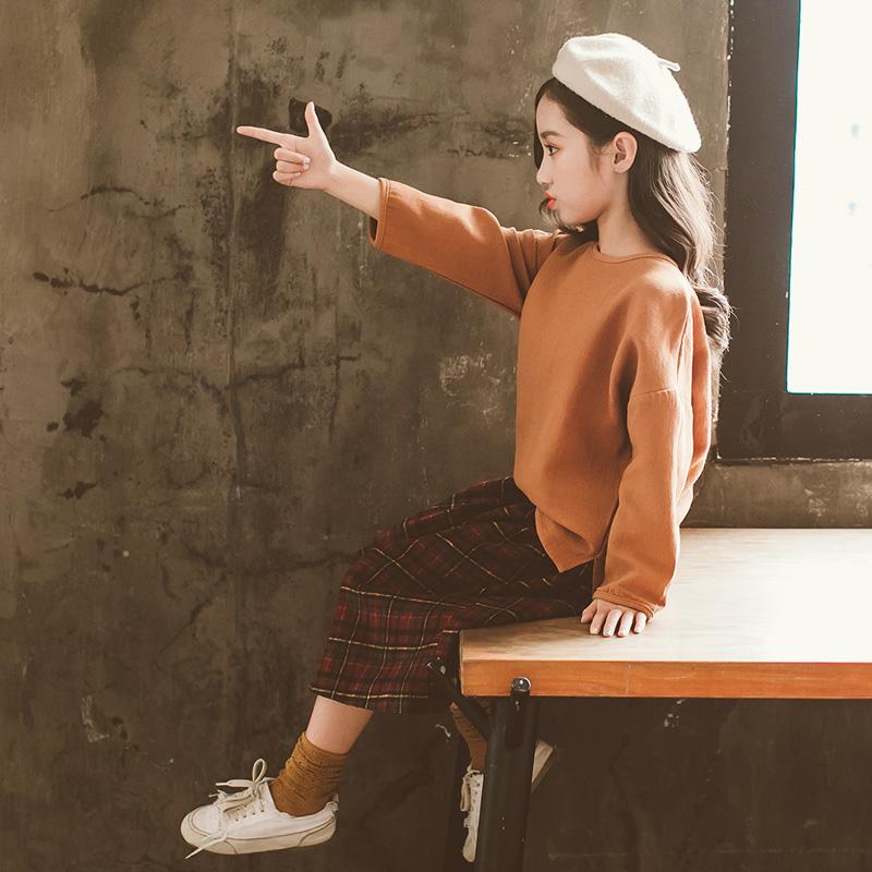 中大女童套装2018新款韩版潮衣女洋气时尚卫衣裙子两件套时髦秋装