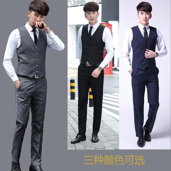 春秋男士西装修身马甲西裤衬衫套装韩版结婚礼服三件套职业装马夹