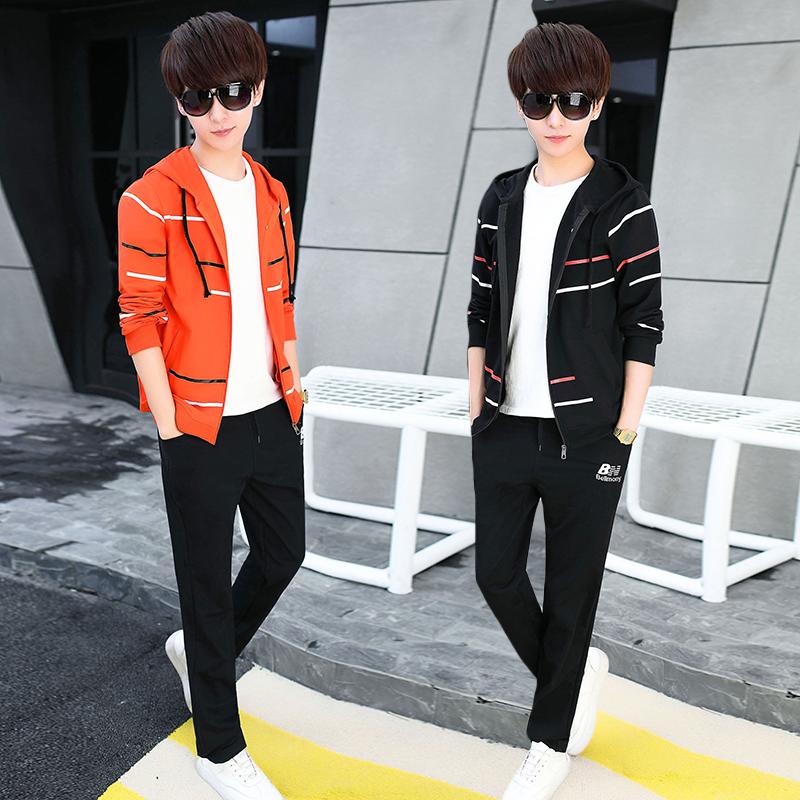 春季2018新款套装男韩版潮流帅气卫衣两件套青少年初中学生运动服
