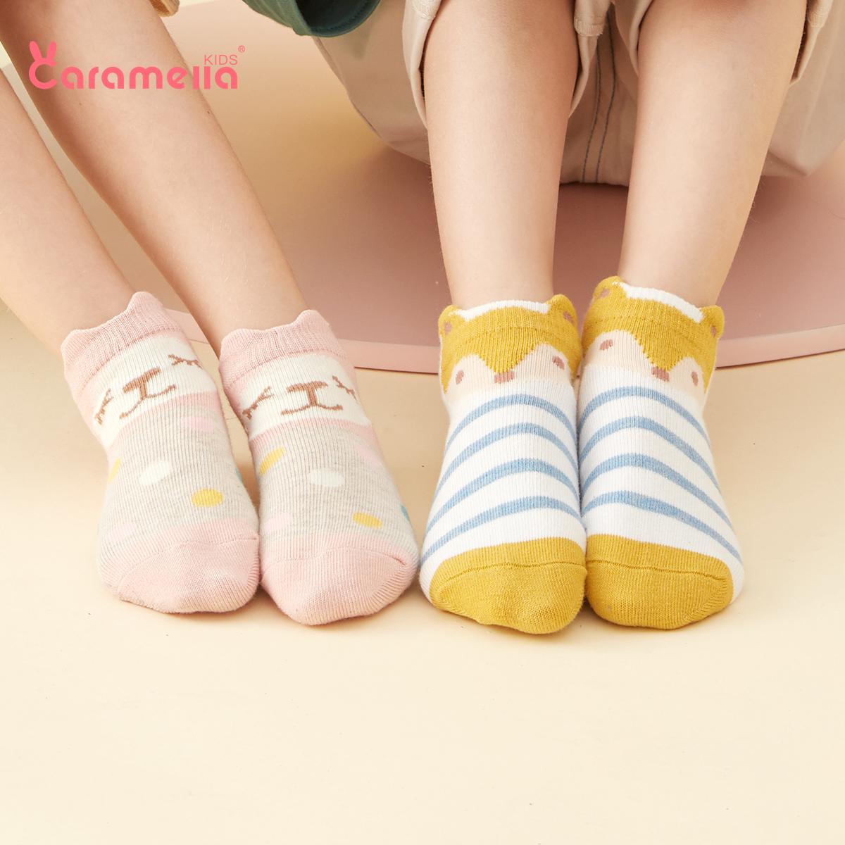 caramella夏季薄款儿童棉袜男女童宝宝纯棉袜子婴儿地板袜短袜子