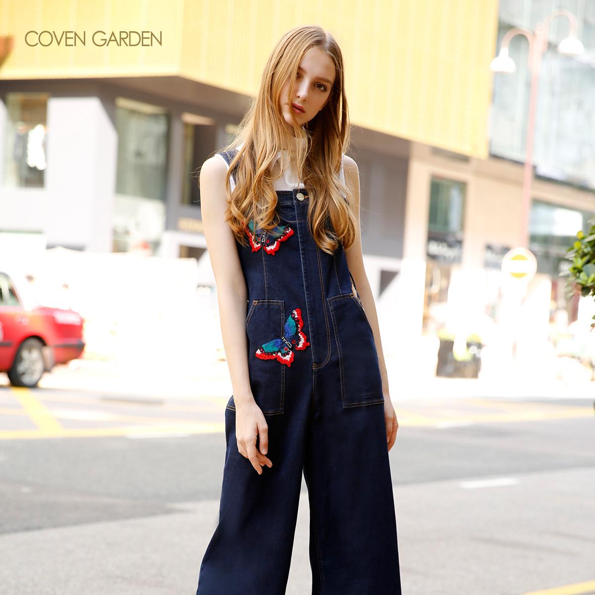 COVEN GARDEN-哥文花园新款高腰刺绣牛仔背带裤女显瘦显高长裤子
