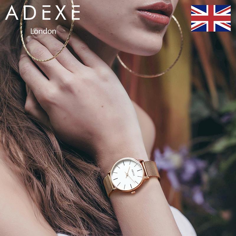 ADEXE英国手表女学生网红时尚潮流简约钢带抖音同款手表潮表DW