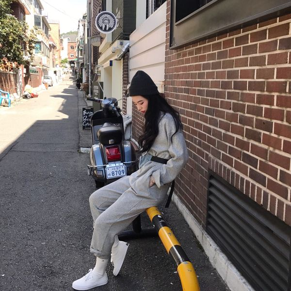 Real Shot Price Gray Jumpsuit Female Autumn And Winter Korean Sports Casual Overalls Hong Kong Flavor Loose High Waist Pants