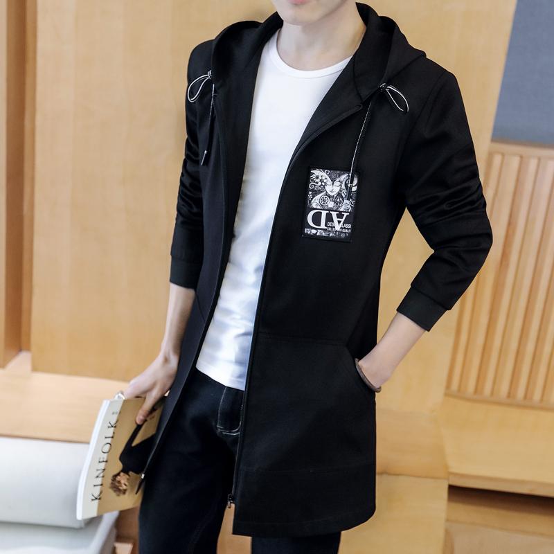 外套男韩版潮流修身帅气风衣男士秋季中长款春秋夹克男生百搭外衣